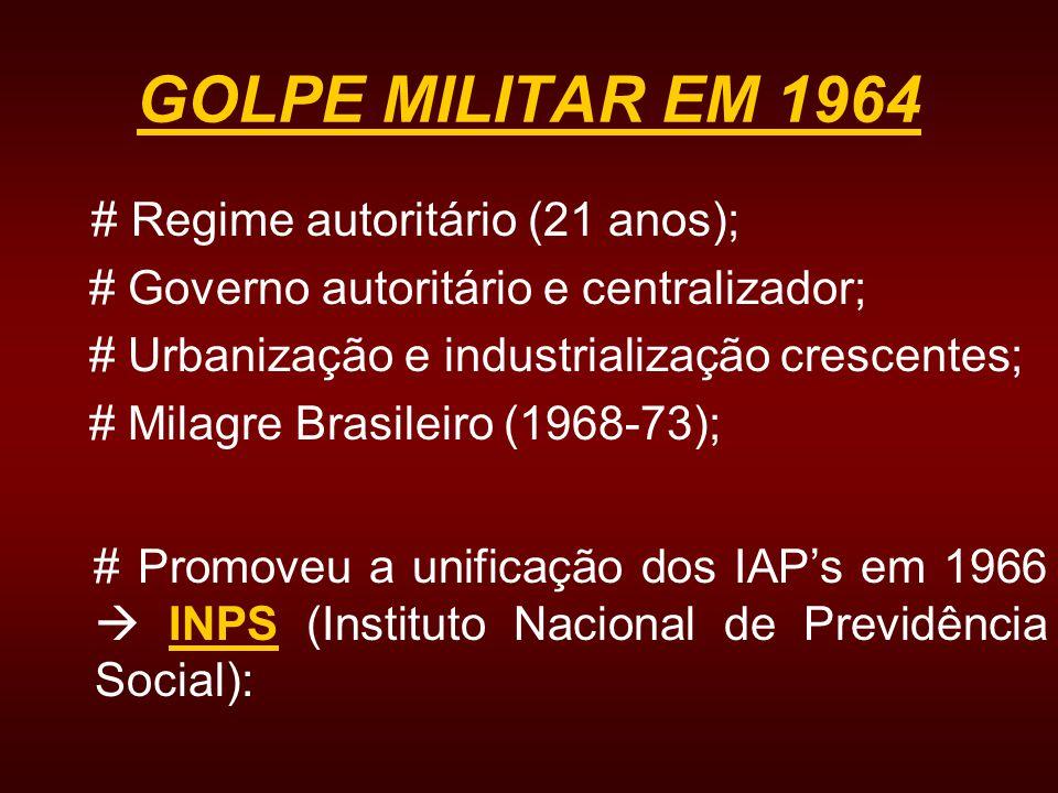 GOLPE MILITAR EM 1964 # Regime autoritário (21 anos); # Governo autoritário e centralizador; # Urbanização e industrialização crescentes; # Milagre Brasileiro (1968-73); # Promoveu a unificação dos IAPs em 1966 INPS (Instituto Nacional de Previdência Social):