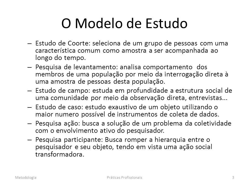 O Modelo de Estudo – Estudo de Coorte: seleciona de um grupo de pessoas com uma característica comum como amostra a ser acompanhada ao longo do tempo.