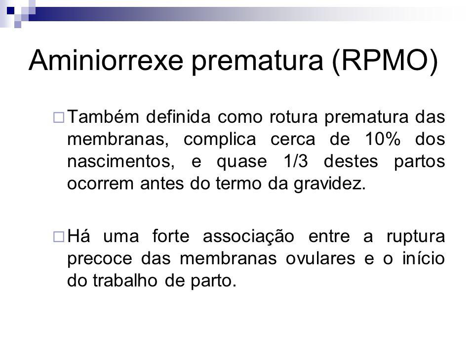 Aminiorrexe prematura (RPMO) Quando do pré-termo o trabalho de parto se inicia na primeira semana após a RPMO, e na gravidez a termo nas primeiras 24 horas.