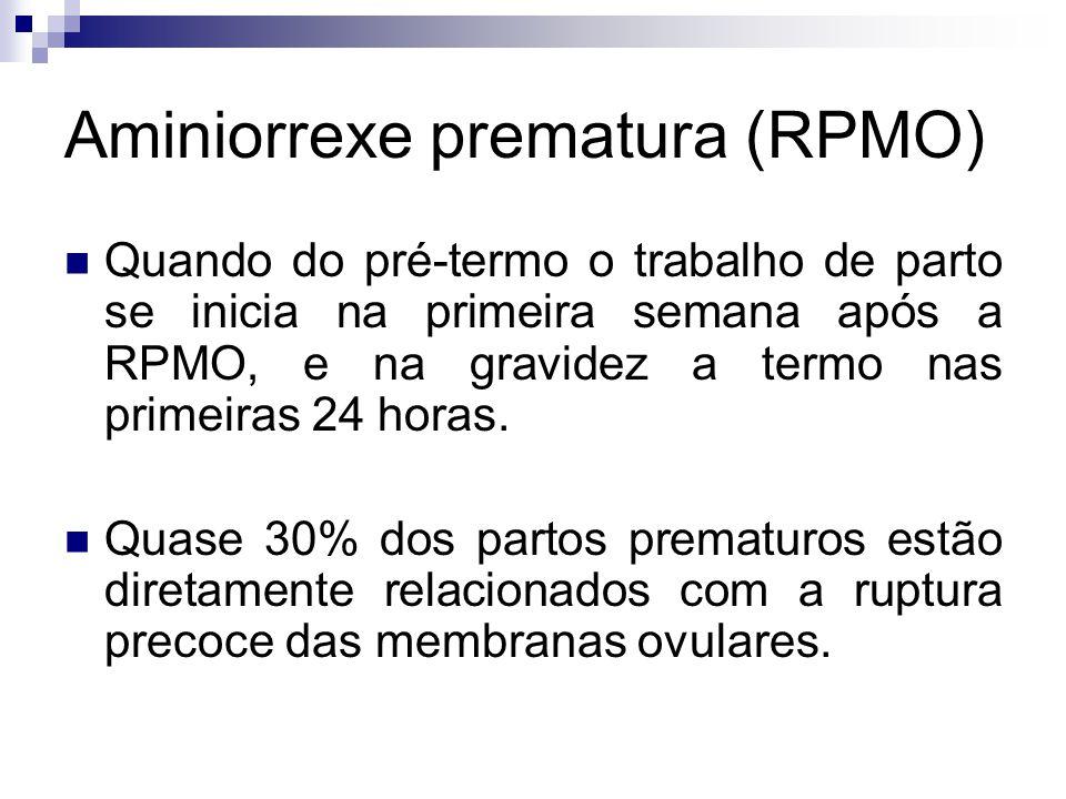 Aminiorrexe prematura (RPMO) Quando do pré-termo o trabalho de parto se inicia na primeira semana após a RPMO, e na gravidez a termo nas primeiras 24