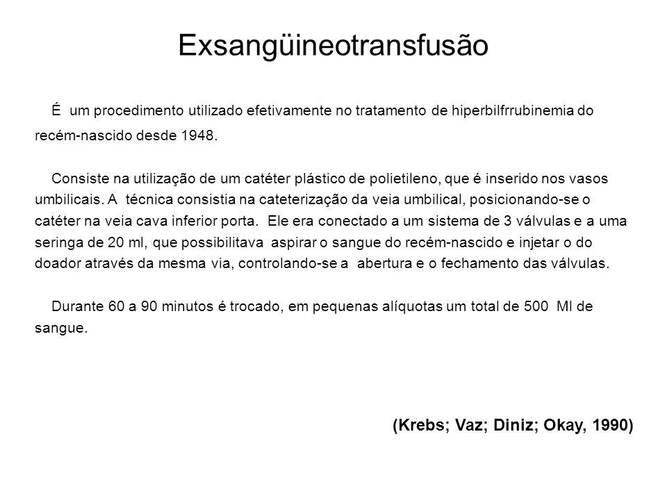 Exsangüineotransfusão É um procedimento utilizado efetivamente no tratamento de hiperbilfrrubinemia do recém-nascido desde 1948. Consiste na utilizaçã