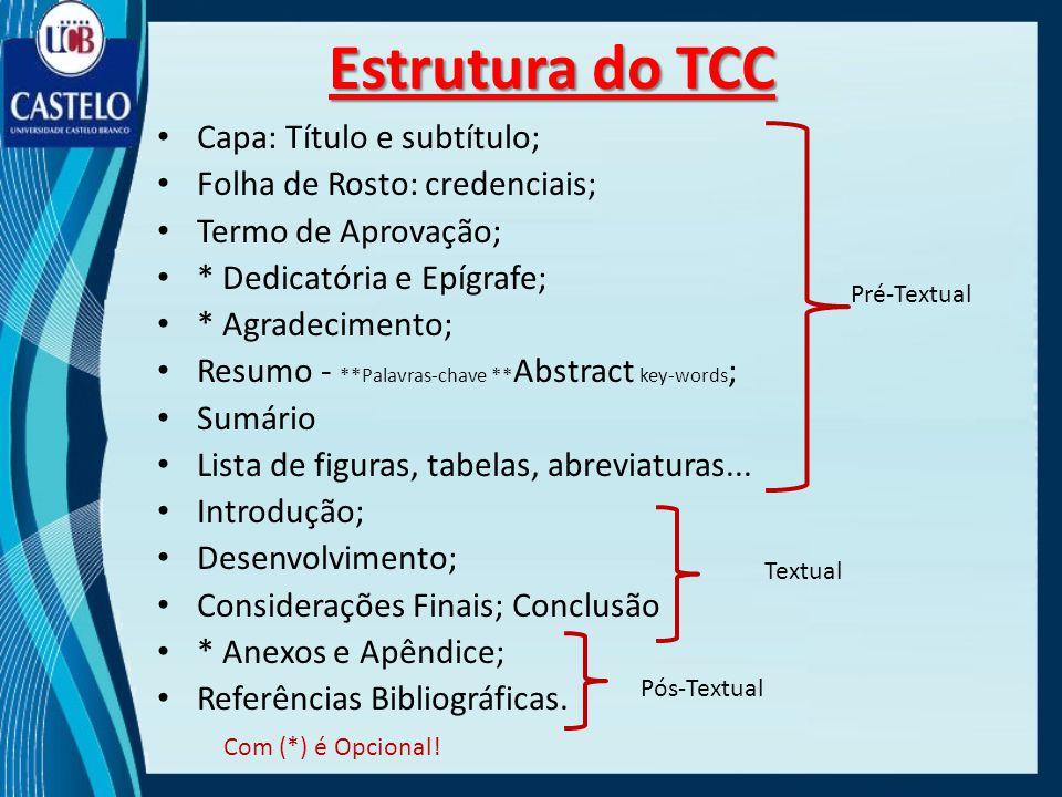 Estrutura do TCC Capa: Título e subtítulo; Folha de Rosto: credenciais; Termo de Aprovação; * Dedicatória e Epígrafe; * Agradecimento; Resumo - **Pala