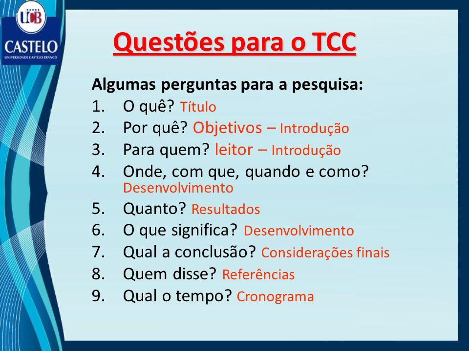 Algumas perguntas para a pesquisa: 1.O quê? Título 2.Por quê? Objetivos – Introdução 3.Para quem? leitor – Introdução 4.Onde, com que, quando e como?