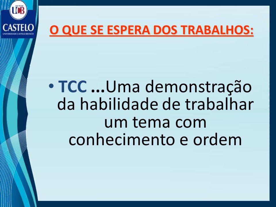 O QUE SE ESPERA DOS TRABALHOS: TCC...Uma demonstração da habilidade de trabalhar um tema com conhecimento e ordem