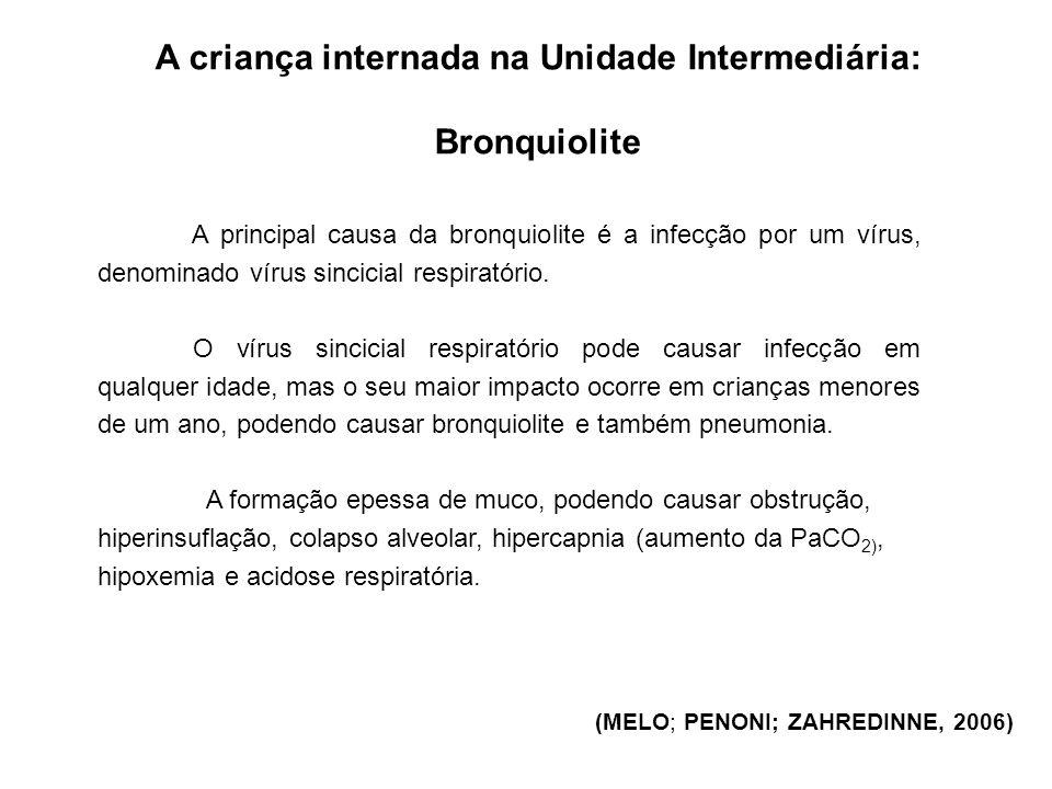 A criança internada na Unidade Intermediária: Bronquiolite (KAWAMOTO & Col., 2001) Os sinais e sintomas iniciais são a febre intermitente, secreção nasal fluída, tosse, faringite, espirros, roncos, sibilos e estertores.