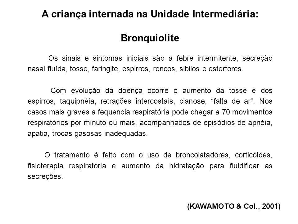 A criança internada na Unidade Intermediária: Bronquiolite (MELO; PENONI; ZAHREDINNE, 2006) Em alguns casos, a criança pode até ser tratada sem internação, desde que o seu quadro clínico esteja estável, com a utilização somente de medidas de sustentação.
