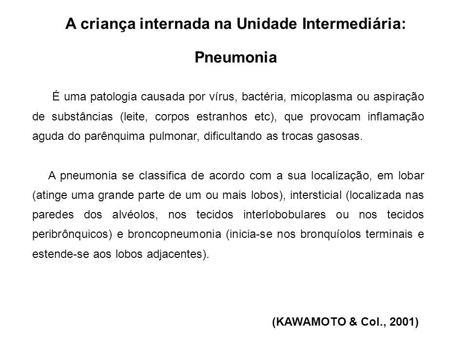 A criança internada na Unidade Intermediária: Pneumonia Os sinais e sintomas variam de acordo com a etiologia: -Pneumonia viral: febre baixa, com tosse leve que envoluem para febre alta, tosse intensa ( com ou sem secreção), roncos e estertores, prostação.