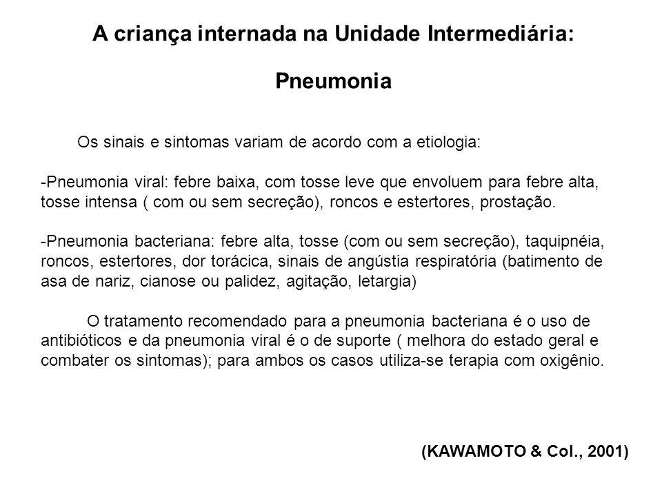 A criança internada na Unidade Intermediária: Pneumonia Os sinais e sintomas variam de acordo com a etiologia: -Pneumonia viral: febre baixa, com toss