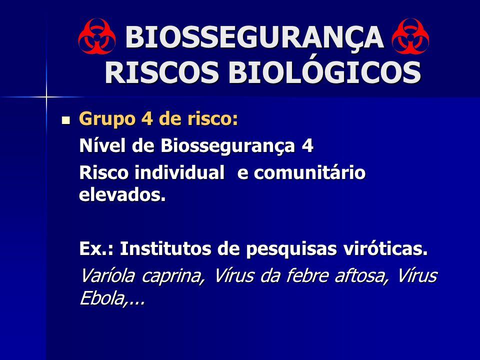 BIOSSEGURANÇA RISCOS BIOLÓGICOS Grupo 4 de risco: Grupo 4 de risco: Nível de Biossegurança 4 Risco individual e comunitário elevados. Ex.: Institutos