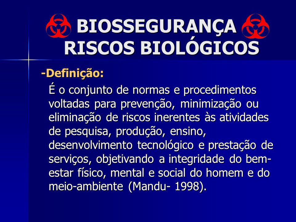 -Definição: -Definição: É o conjunto de normas e procedimentos voltadas para prevenção, minimização ou eliminação de riscos inerentes às atividades de