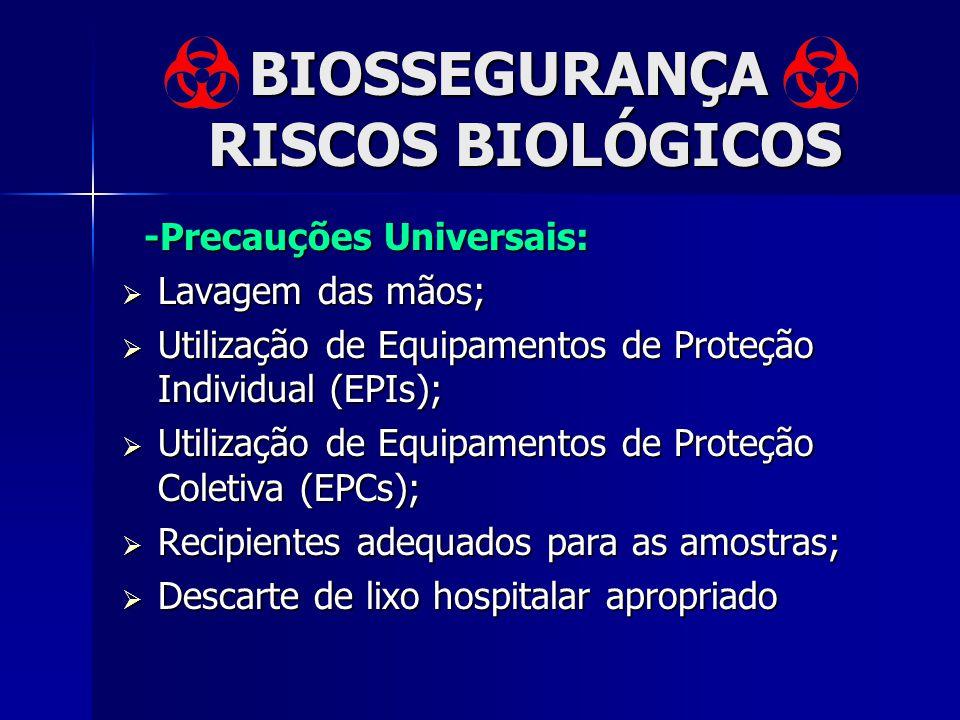 BIOSSEGURANÇA RISCOS BIOLÓGICOS -Precauções Universais: -Precauções Universais: Lavagem das mãos; Lavagem das mãos; Utilização de Equipamentos de Prot
