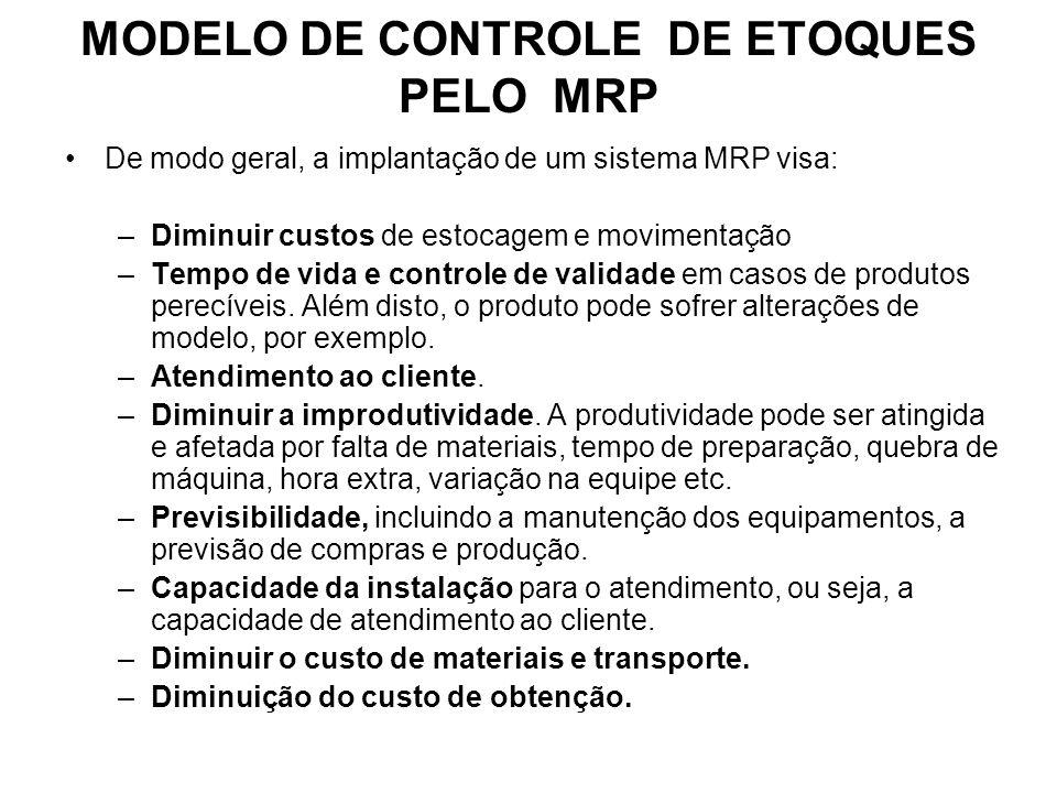De modo geral, a implantação de um sistema MRP visa: –Diminuir custos de estocagem e movimentação –Tempo de vida e controle de validade em casos de produtos perecíveis.