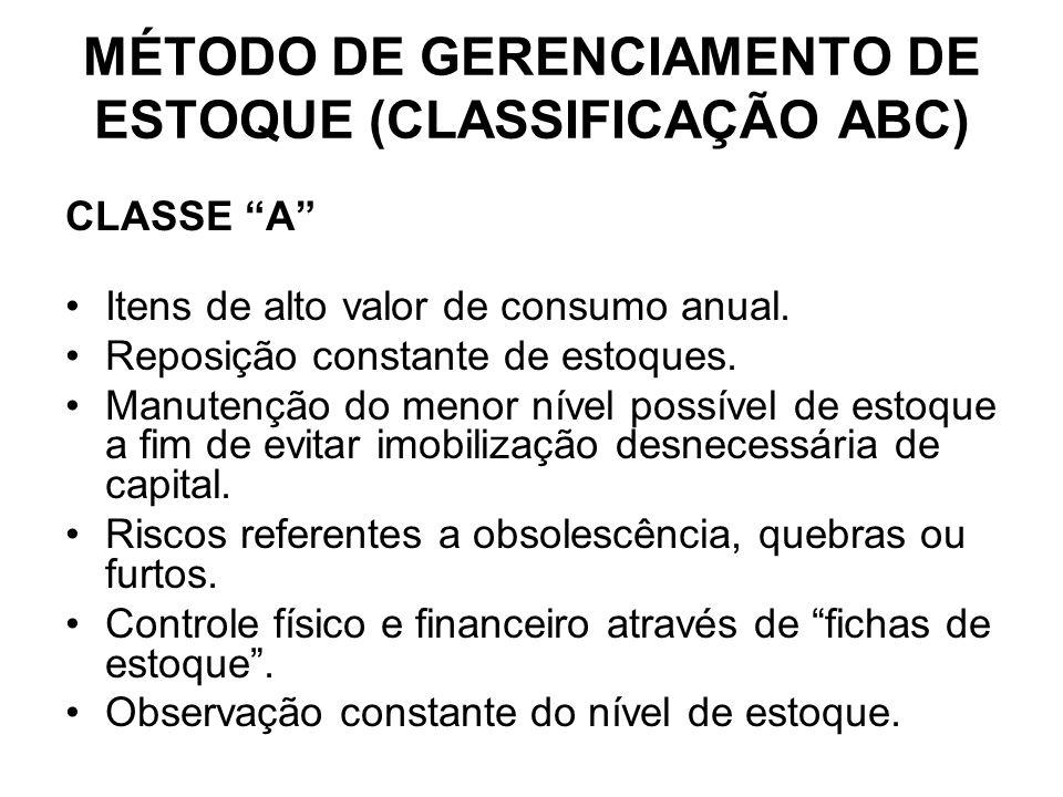 CLASSE A Itens de alto valor de consumo anual.Reposição constante de estoques.