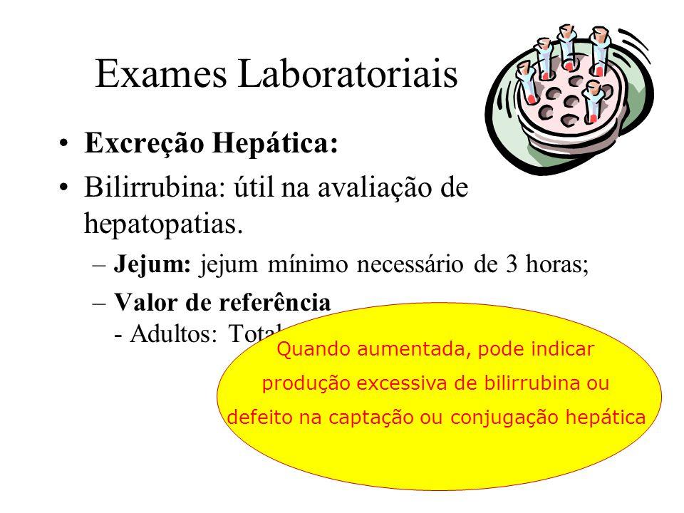 Exames Laboratoriais Excreção Hepática: Bilirrubina: útil na avaliação de hepatopatias. –Jejum: jejum mínimo necessário de 3 horas; –Valor de referênc