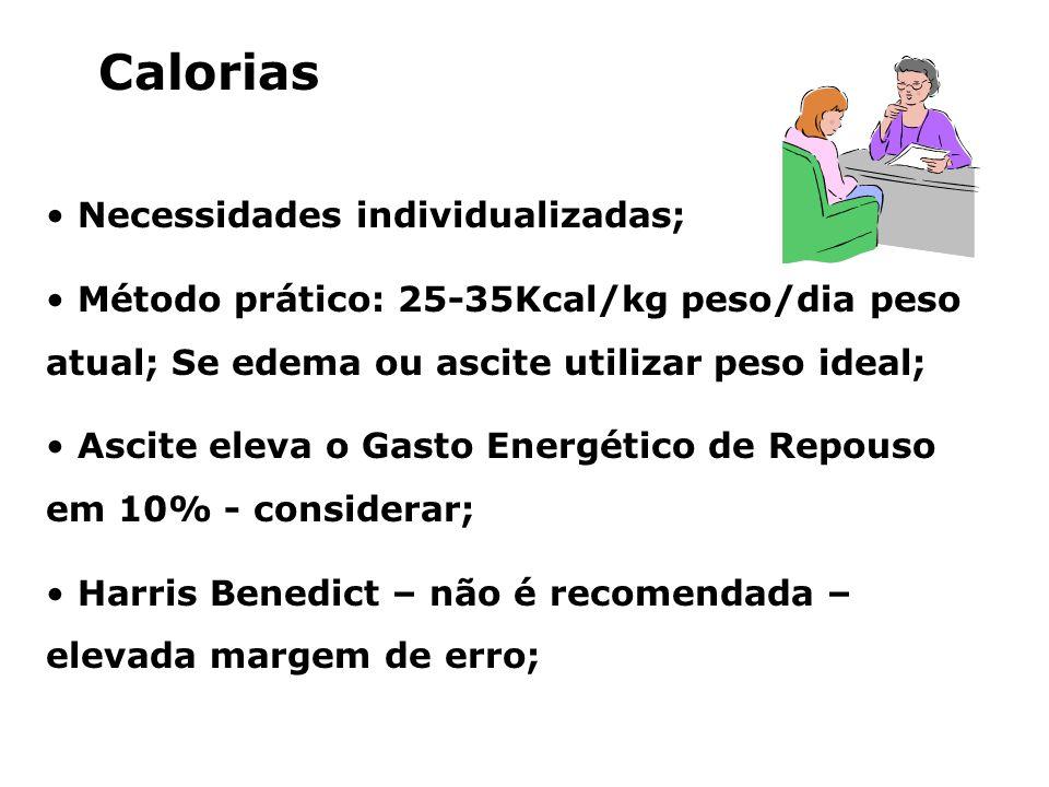 Calorias Necessidades individualizadas; Método prático: 25-35Kcal/kg peso/dia peso atual; Se edema ou ascite utilizar peso ideal; Ascite eleva o Gasto