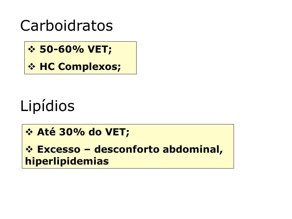 Carboidratos 50-60% VET; HC Complexos; Lipídios Até 30% do VET; Excesso – desconforto abdominal, hiperlipidemias