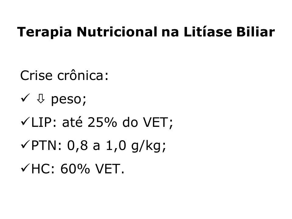 Crise crônica: peso; LIP: até 25% do VET; PTN: 0,8 a 1,0 g/kg; HC: 60% VET. Terapia Nutricional na Litíase Biliar