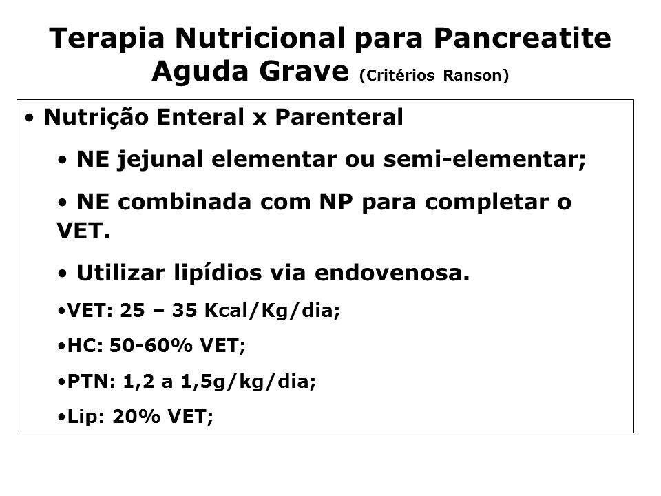 Terapia Nutricional para Pancreatite Aguda Grave (Critérios Ranson) Nutrição Enteral x Parenteral NE jejunal elementar ou semi-elementar; NE combinada