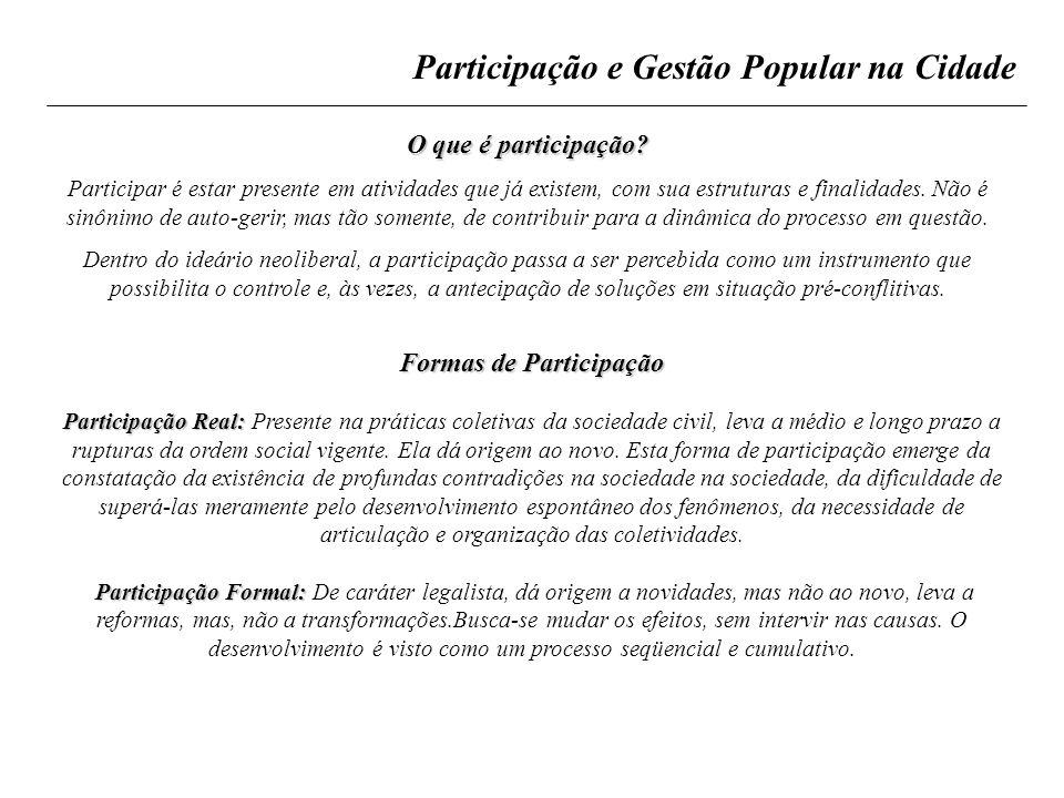 Participação e Gestão Popular na Cidade O que é participação? Participar é estar presente em atividades que já existem, com sua estruturas e finalidad