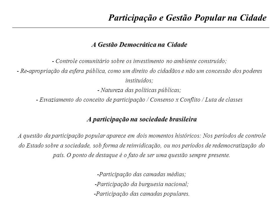 Participação e Gestão Popular na Cidade A Gestão Democrática na Cidade - Controle comunitário sobre os investimento no ambiente construído; - Re-aprop