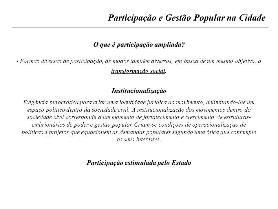 Participação e Gestão Popular na Cidade O que é participação ampliada? - Formas diversas de participação, de modos também diversos, em busca de um mes