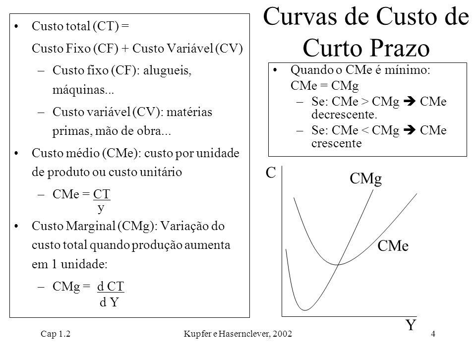 Cap 1.2Kupfer e Hasernclever, 20024 Curvas de Custo de Curto Prazo Custo total (CT) = Custo Fixo (CF) + Custo Variável (CV) –Custo fixo (CF): alugueis