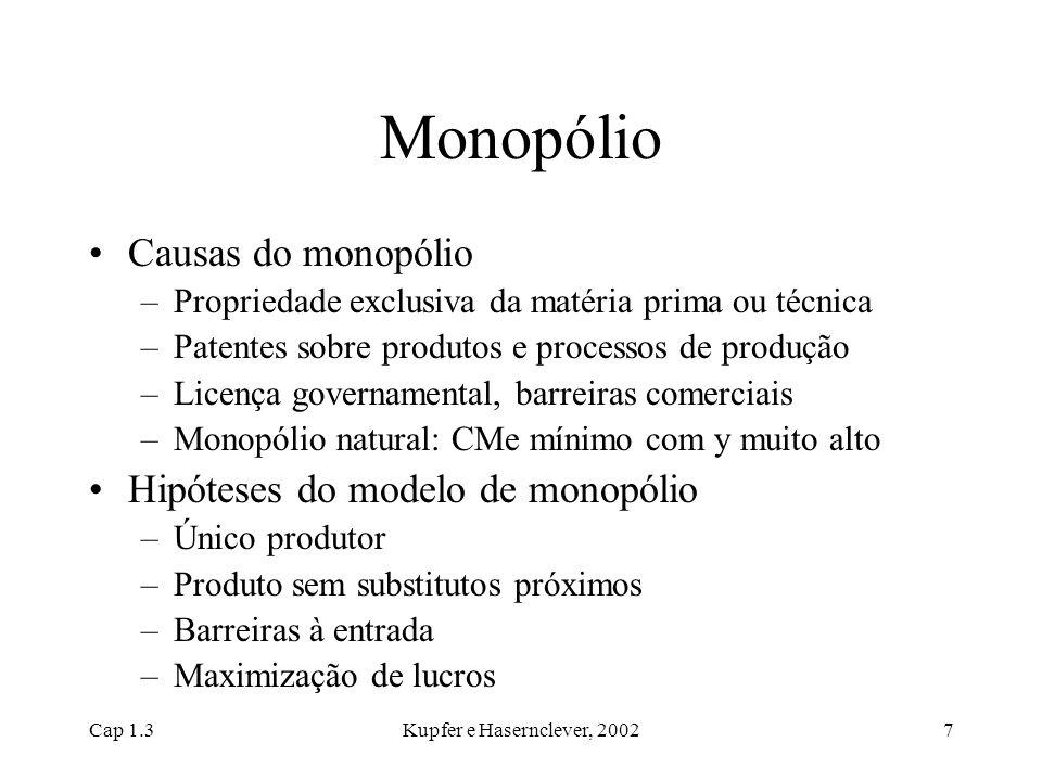 Cap 1.3Kupfer e Hasernclever, 20027 Monopólio Causas do monopólio –Propriedade exclusiva da matéria prima ou técnica –Patentes sobre produtos e proces