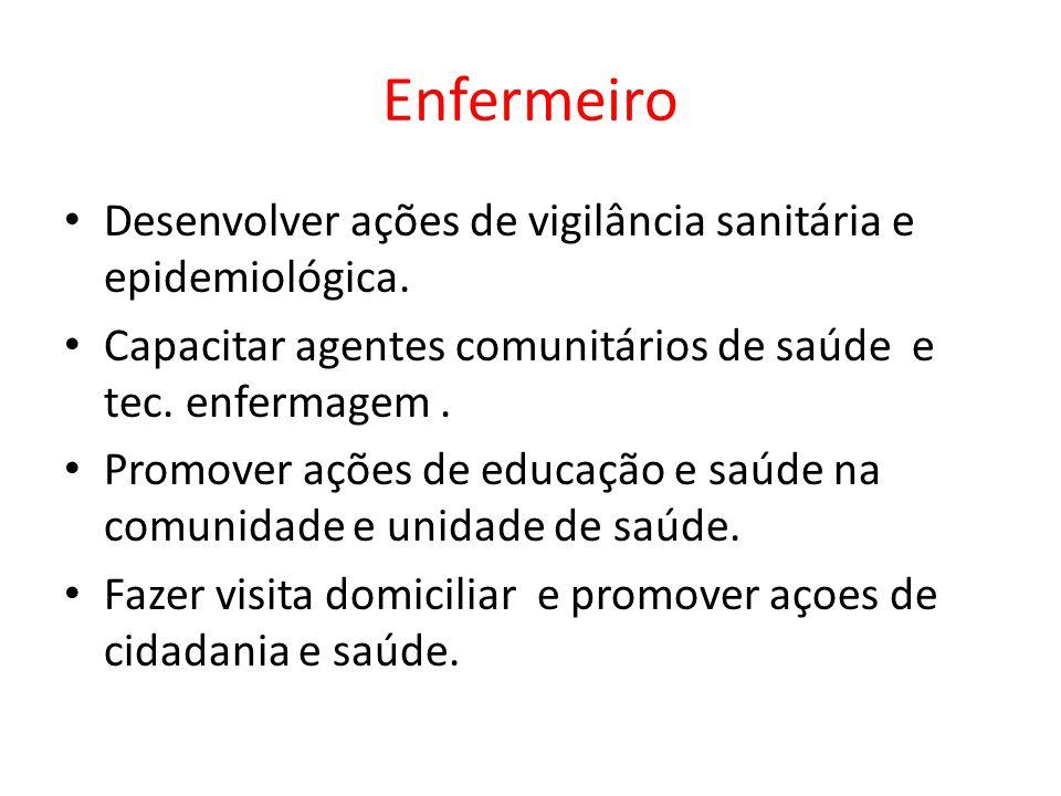 Enfermeiro Desenvolver ações de vigilância sanitária e epidemiológica. Capacitar agentes comunitários de saúde e tec. enfermagem. Promover ações de ed