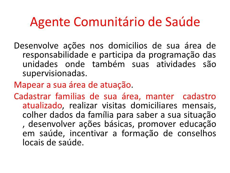 Agente Comunitário de Saúde Desenvolve ações nos domicilios de sua área de responsabilidade e participa da programação das unidades onde também suas a