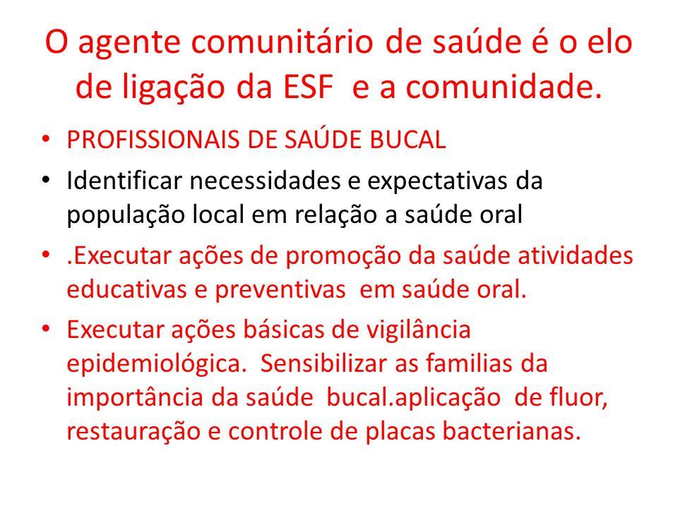 O agente comunitário de saúde é o elo de ligação da ESF e a comunidade. PROFISSIONAIS DE SAÚDE BUCAL Identificar necessidades e expectativas da popula
