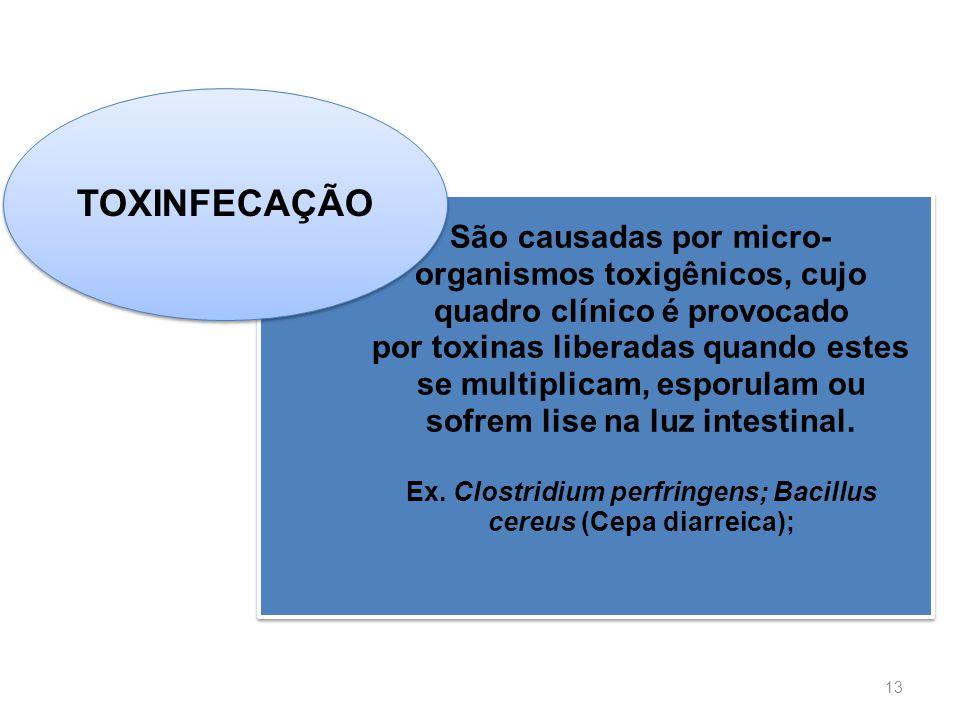 Escola de Ciências da Saúde Curso: Nutrição 13 São causadas por micro- organismos toxigênicos, cujo quadro clínico é provocado por toxinas liberadas q