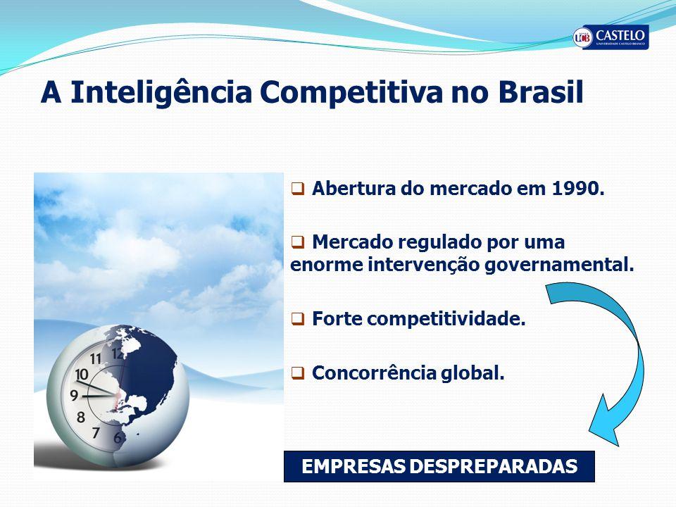 A Inteligência Competitiva no Brasil Abertura do mercado em 1990. Mercado regulado por uma enorme intervenção governamental. Forte competitividade. Co