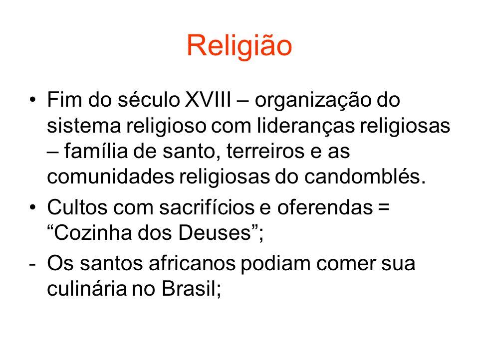 Religião Fim do século XVIII – organização do sistema religioso com lideranças religiosas – família de santo, terreiros e as comunidades religiosas do candomblés.