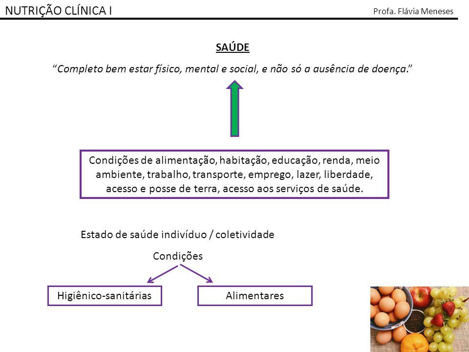 NUTRIÇÃO CLÍNICA I Profa. Flávia Meneses SAÚDE Completo bem estar físico, mental e social, e não só a ausência de doença. Condições de alimentação, ha