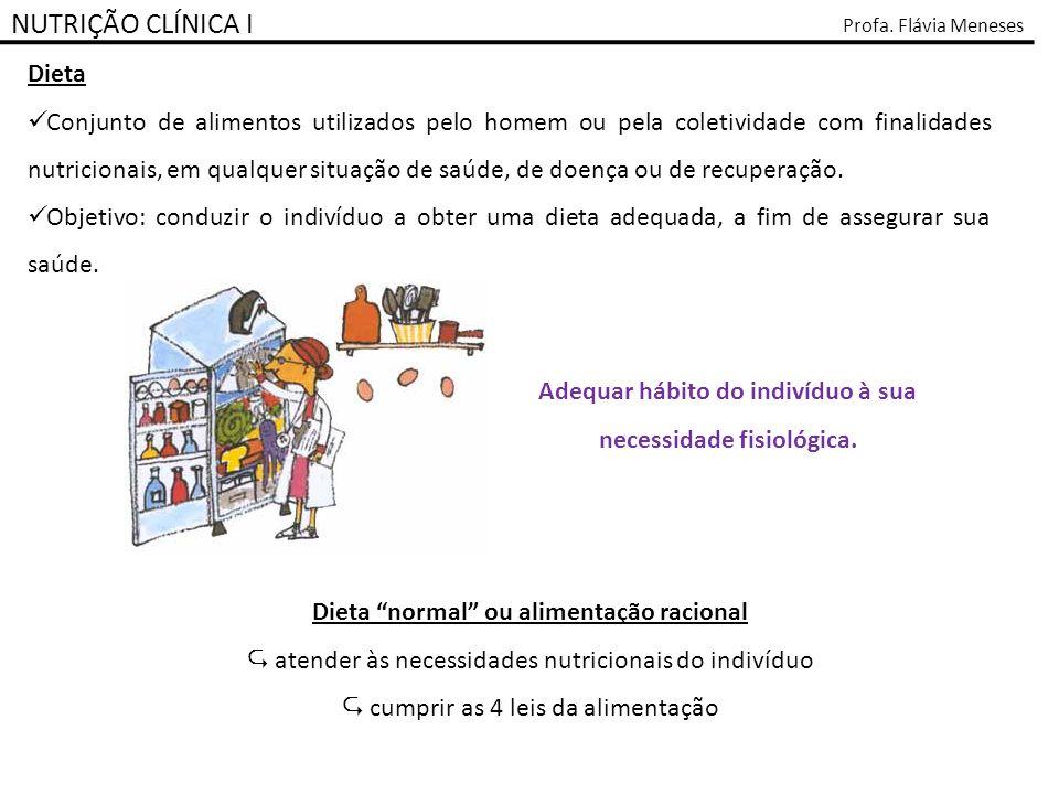 NUTRIÇÃO CLÍNICA I Profa. Flávia Meneses Dieta Conjunto de alimentos utilizados pelo homem ou pela coletividade com finalidades nutricionais, em qualq