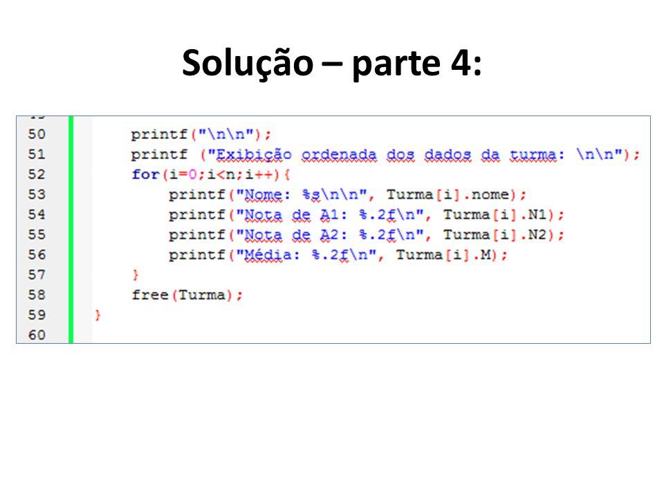 Solução – parte 4: