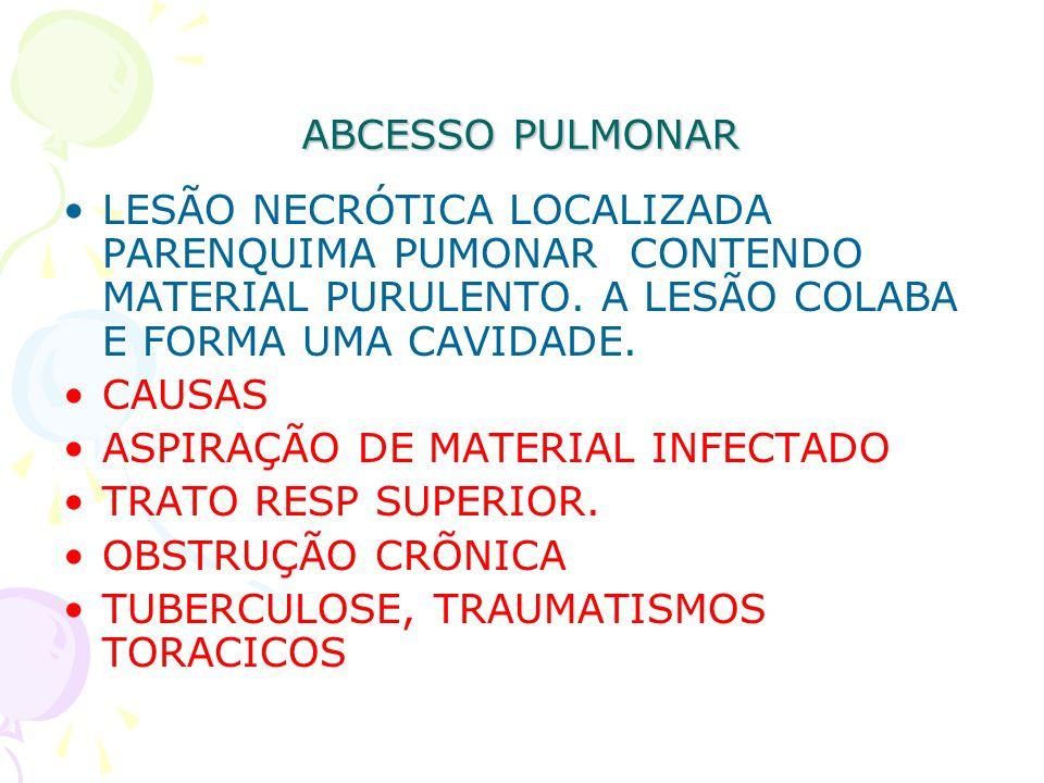 ABCESSO PULMONAR LESÃO NECRÓTICA LOCALIZADA PARENQUIMA PUMONAR CONTENDO MATERIAL PURULENTO. A LESÃO COLABA E FORMA UMA CAVIDADE. CAUSAS ASPIRAÇÃO DE M