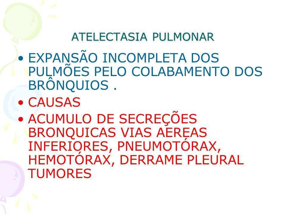 ATELECTASIA PULMONAR EXPANSÃO INCOMPLETA DOS PULMÕES PELO COLABAMENTO DOS BRÔNQUIOS. CAUSAS ACUMULO DE SECREÇÕES BRONQUICAS VIAS AEREAS INFERIORES, PN