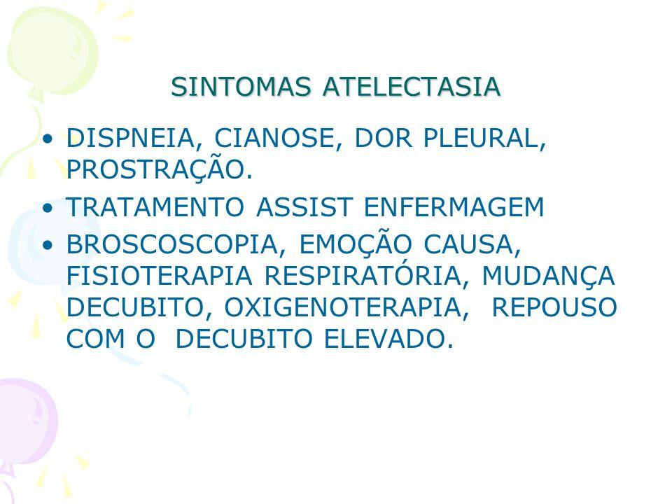 SINTOMAS ATELECTASIA DISPNEIA, CIANOSE, DOR PLEURAL, PROSTRAÇÃO. TRATAMENTO ASSIST ENFERMAGEM BROSCOSCOPIA, EMOÇÃO CAUSA, FISIOTERAPIA RESPIRATÓRIA, M