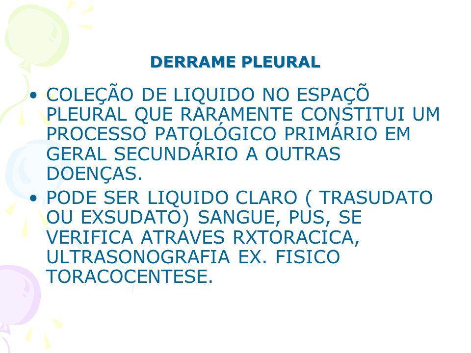 DERRAME PLEURAL COLEÇÃO DE LIQUIDO NO ESPAÇÕ PLEURAL QUE RARAMENTE CONSTITUI UM PROCESSO PATOLÓGICO PRIMÁRIO EM GERAL SECUNDÁRIO A OUTRAS DOENÇAS. POD