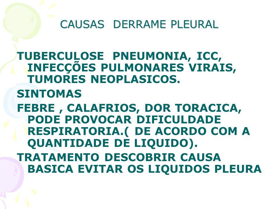 CAUSAS DERRAME PLEURAL TUBERCULOSE PNEUMONIA, ICC, INFECÇÕES PULMONARES VIRAIS, TUMORES NEOPLASICOS. SINTOMAS FEBRE, CALAFRIOS, DOR TORACICA, PODE PRO