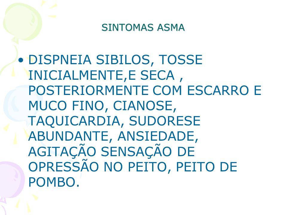SINTOMAS ASMA DISPNEIA SIBILOS, TOSSE INICIALMENTE,E SECA, POSTERIORMENTE COM ESCARRO E MUCO FINO, CIANOSE, TAQUICARDIA, SUDORESE ABUNDANTE, ANSIEDADE