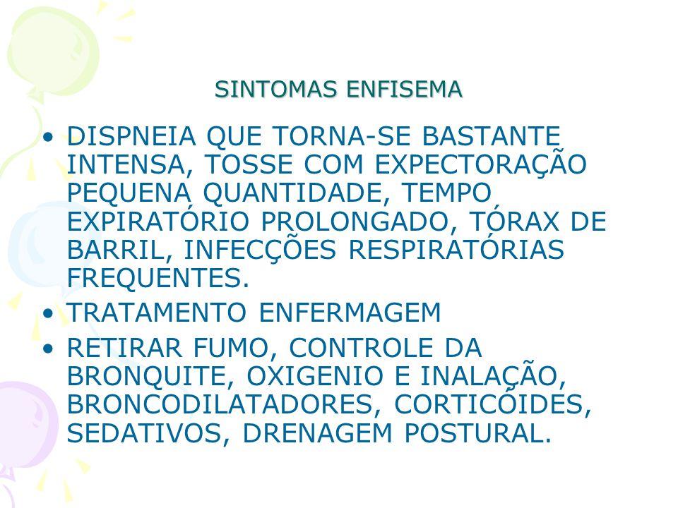 SINTOMAS ENFISEMA DISPNEIA QUE TORNA-SE BASTANTE INTENSA, TOSSE COM EXPECTORAÇÃO PEQUENA QUANTIDADE, TEMPO EXPIRATÓRIO PROLONGADO, TÓRAX DE BARRIL, IN