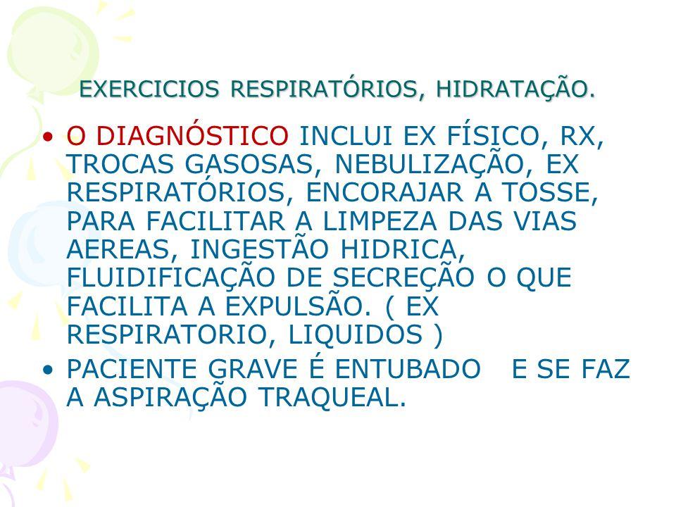 EXERCICIOS RESPIRATÓRIOS, HIDRATAÇÃO. O DIAGNÓSTICO INCLUI EX FÍSICO, RX, TROCAS GASOSAS, NEBULIZAÇÃO, EX RESPIRATÓRIOS, ENCORAJAR A TOSSE, PARA FACIL