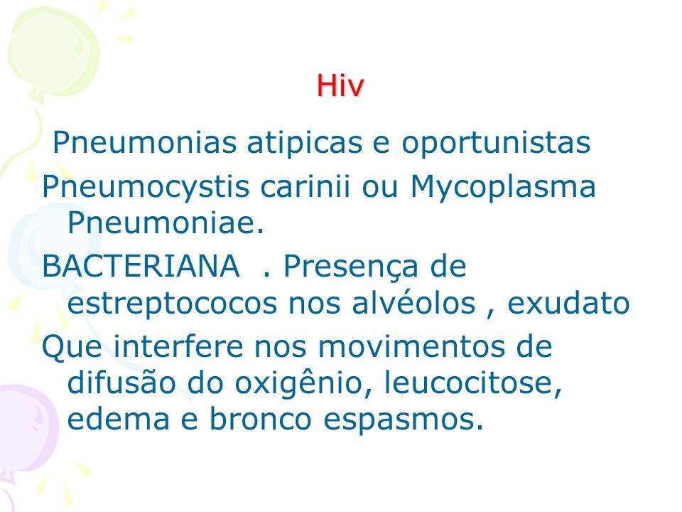 Hiv Pneumonias atipicas e oportunistas Pneumocystis carinii ou Mycoplasma Pneumoniae. BACTERIANA. Presença de estreptococos nos alvéolos, exudato Que