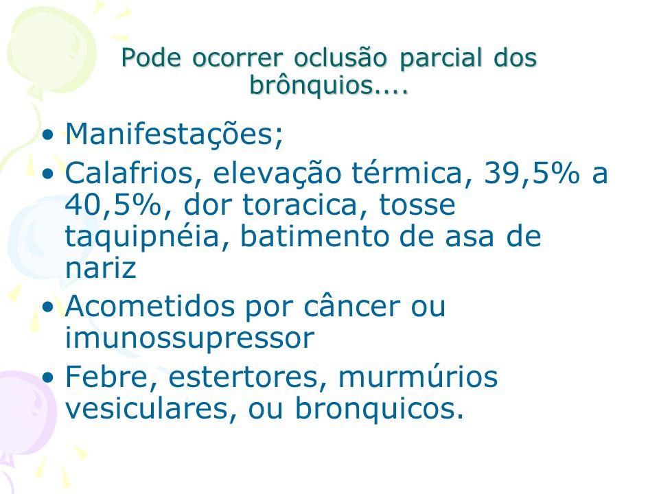 Pode ocorrer oclusão parcial dos brônquios.... Manifestações; Calafrios, elevação térmica, 39,5% a 40,5%, dor toracica, tosse taquipnéia, batimento de