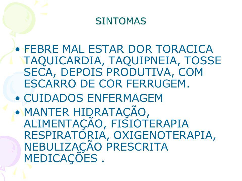 SINTOMAS FEBRE MAL ESTAR DOR TORACICA TAQUICARDIA, TAQUIPNEIA, TOSSE SECA, DEPOIS PRODUTIVA, COM ESCARRO DE COR FERRUGEM. CUIDADOS ENFERMAGEM MANTER H