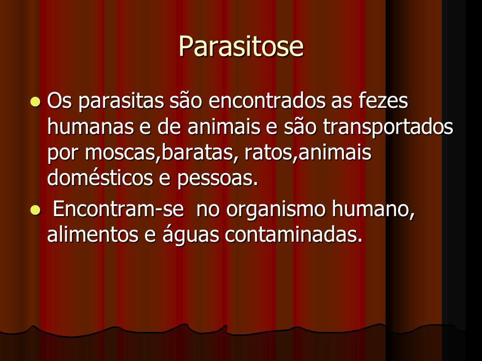 Parasitose Os parasitas são encontrados as fezes humanas e de animais e são transportados por moscas,baratas, ratos,animais domésticos e pessoas. Os p