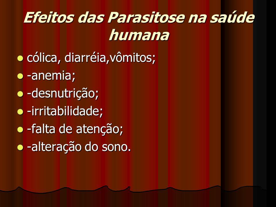 Efeitos das Parasitose na saúde humana cólica, diarréia,vômitos; cólica, diarréia,vômitos; -anemia; -anemia; -desnutrição; -desnutrição; -irritabilidade; -irritabilidade; -falta de atenção; -falta de atenção; -alteração do sono.