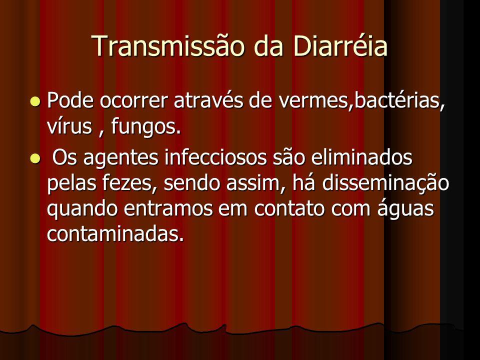 Transmissão da Diarréia Pode ocorrer através de vermes,bactérias, vírus, fungos. Pode ocorrer através de vermes,bactérias, vírus, fungos. Os agentes i